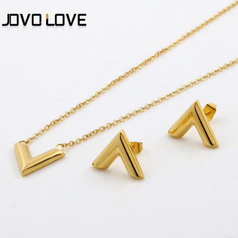 Letter V Earrings and Pendant Necklace Jewelry Sets 2Colors Gold Silver Chain Necklace Charm V Earrings for women
