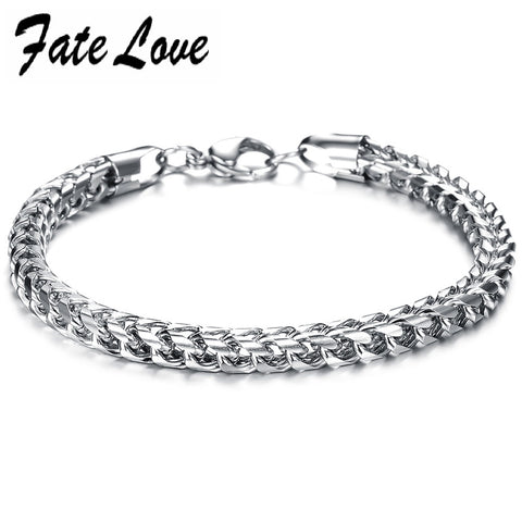 Fate LoveJewelry Stainless Steel Titanium Silver Chains Men Bangle Bracelet Male Charm Thick Wristband Bracelet FL672
