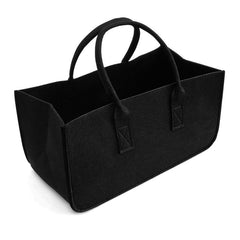 Felt bag black Fireplace wooden bag Felt basket Fire wood pocket Firewood basket Basket Felt Newspaper stalls Newspaper basket