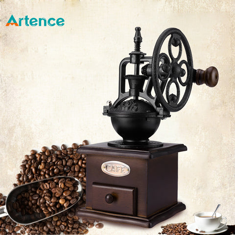 Ferris WheelVintage Manual Coffee Grinder With Ceramic Movement Retro Wooden Coffee Mill For Home Decoration