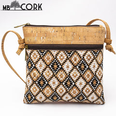 From Portugal Natural cork with ETHNIC Pattern crossbody Vegan bag vegan gift European seller  BAG-376-N