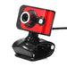 20 Mega Pixels USB 2.0 Webcam Wired Camera 3 LED WebCam Built-in MIC Microphone Adjustable Focus Red Black Clip for Computer