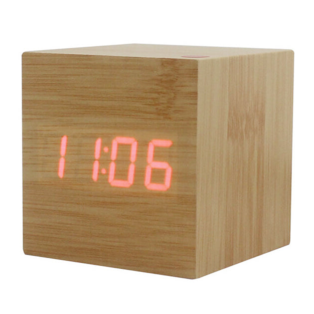 Wood Cube Led Alarm Control Digital Desk Clock Wooden Style Room Temperature Bamboo Wood Green Led Clocks Home Decor