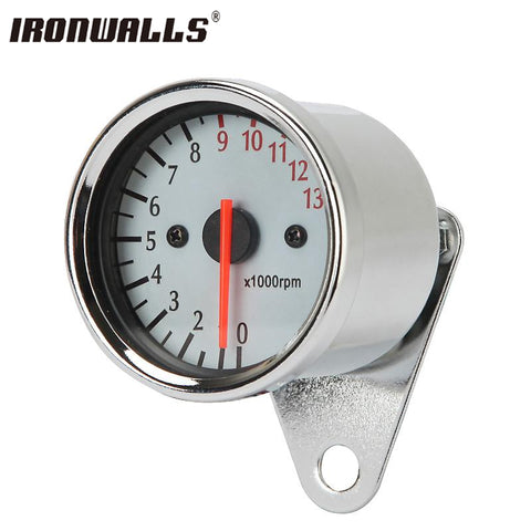 Ironwalls 12V Motorcycle LED Dual Tachometer Speedometer Odometer Cruisers Scooter Speed Meter Gauge Back Light 0~140km/h
