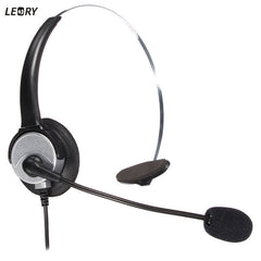 LEORY 360 Degree Rotate Speaker Headphones with Bendable Mic Arm RJ11 Efficient Headset for Office Business Call