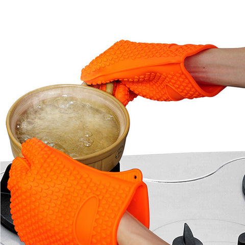 LumiParty 1 Pair Thicken Heat Resistant Silicone Gloves Cooking Baking BBQ Pot Holder Microwave Oven Mitts Kitchen Orange