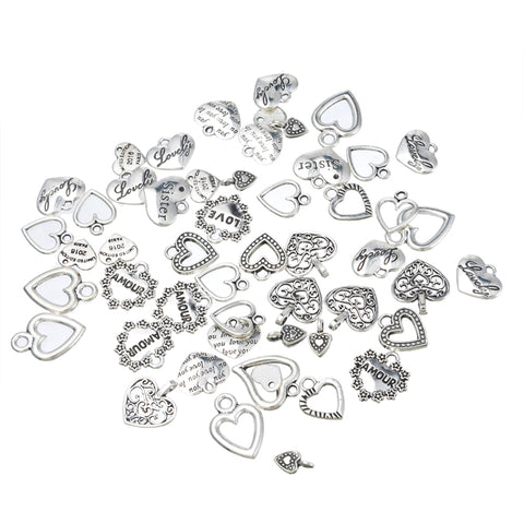 MJARTORIA 30PCs Vintage Heart Charms PendantsCharm Necklace Braelet For Women Men DIY Jewelry Findings Random Mixed
