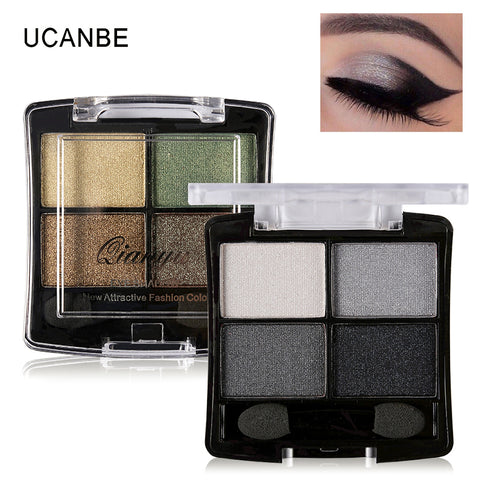 Maquiagem4 ColorsGlitter Eyeshadow Palette Natural Nude Makeup Set Shimmer Matte Eye Shadow with Brush