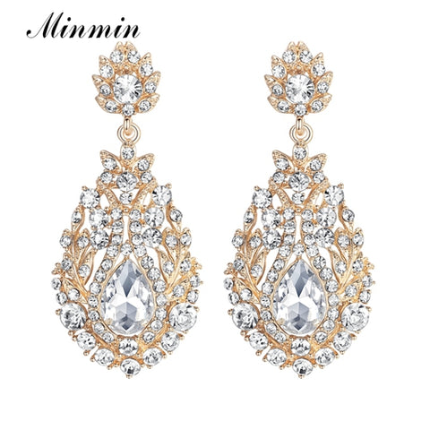 Minmin Luxury Crystal Long Earrings for Women Rhinestone Gold Color Hanging EarringsWedding Jewelry MEH729