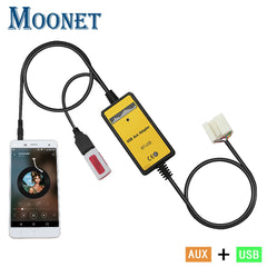 Moonet Car Audio USB AUX Adapter 3.5mm AUX Interface CD Changer for Honda Accord Pilot S2000 Civic CR-V QX003