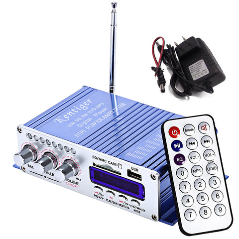 Motorcycle USB FM Audio Car Stereo Amplifier Radio MP3 Speaker LED Hi-Fi 2 Channel Digital Display Power Player