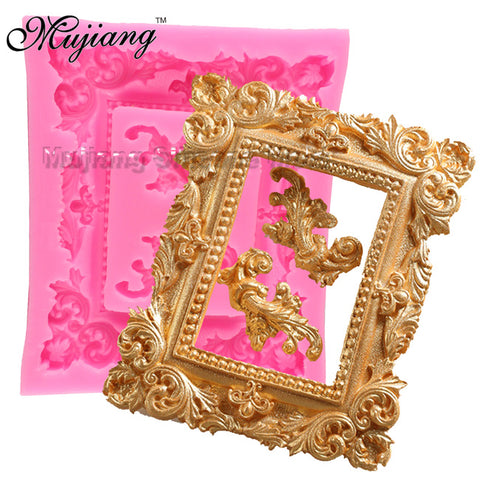 Mujiang Classical Frame Cake Border Silicone Molds Fondant Cake Decorating Tools Gumpaste Chocolate Mold Kitchen Baking Moulds
