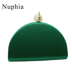 NUPHIAPeacock Shape Box Emerald Party Clutch Silk Satin Evening Bags and Clutch Bags for Party Prom Evening Dark Green