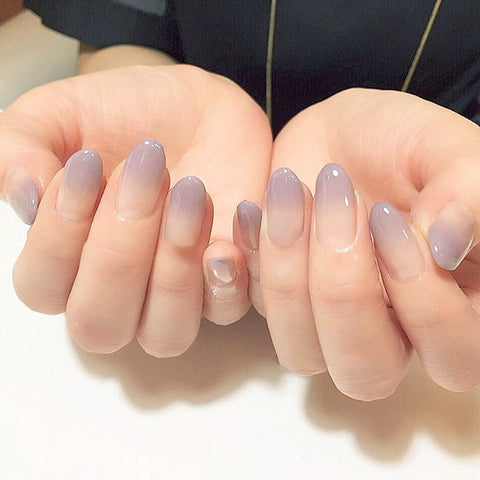 24pcs sexy nude purple Gradient color False Nail Art With Glue plain color Fake Nail Tip Finished manicure nail sticker