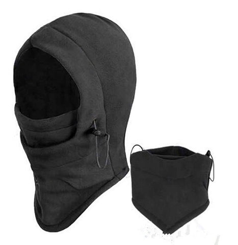6 in 1 Thermal Fleece Hood Double Layers Thicken Warm Full Face Cover Winter Ski Mask Beanie Hat And Gorro Invierno