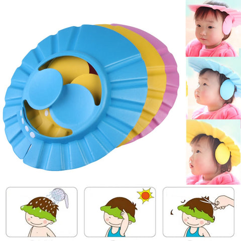Adjustable Baby Shower Cap Kids Shampoo Bath Bathing Shower Cap Hat with Ear Cover Kids Shower Accessory
