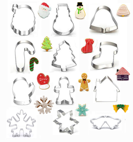 Christmas cookie cutter set of 12pcs snowflower snowman tree bell Gingerbread Man socks steel cutter