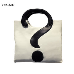 New Harajuku Women PU Shoulder Bags Big Question Mark Design Handbag Patchwork Messenger Crossbody Bags Handbags