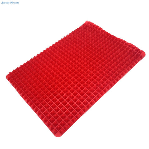 Non Stick Heat Resistant Raised Pyramid Shaped Silicone Baking, Roasting Mats - 16 Inches X 11.5 Inches - Red