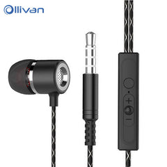 OLLIVAN Sport In Ear Earphone Space Aluminum Metal Music Earphones Wired  Super Bass Noise Reduction Headset  Earbuds for Phone