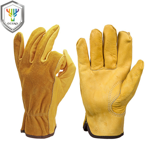 OZEROMen's Work Gloves Cowhide Driver Security Protection Wear Safety Workers Welding Moto Gloves For Men 0007