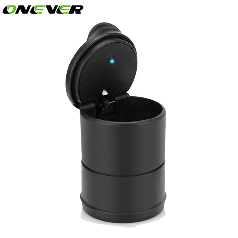 Onever Portable Cigar Ashtray LED Cylinder Car Truck Auto Office Smokeless Cigarette Ashtrays With Lids carro cinzeiro For Car