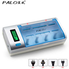 PALO Rechargeable LCD Display Smart Screen Battery Charger For Ni-MH NI-CD AA/AAA/SC/C/D/9V Size Batteries