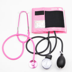 Pink Color Blood Pressure Monitor BP Cuff Stethoscope Arm Aneroid Sphygmomanometer with Pink Single Head Cute Stethoscope