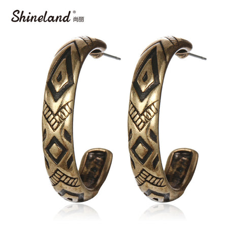 Retro Tibetan Antique Gold Silver Plated Vintage Round Carving Hoop Earrings For WomenJewelry Brincos Boucle Doreille