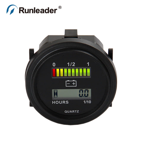 Runleader BI004 LED Battery Percentage Gauge Battery Hour Meter 12V 24V 36V 48V 72V Meter for Club Car