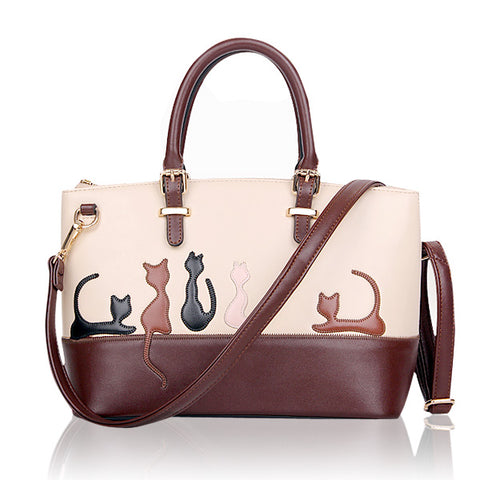 Brown-White Ladies Handbags With Cat Or Rabbit Pattern