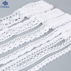 Sewing Apparel  Fabric 5 Yards White Color Crochet Knitting Cotton Lace Trim Fabric Ribbon Handmade Accessories Craft