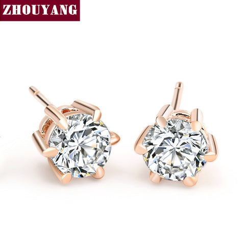 Six Claws 5mm 0.5ct Cubic Zirconia Rose Gold Color Crystal Stud Earrings Jewelry WeddingZYE036