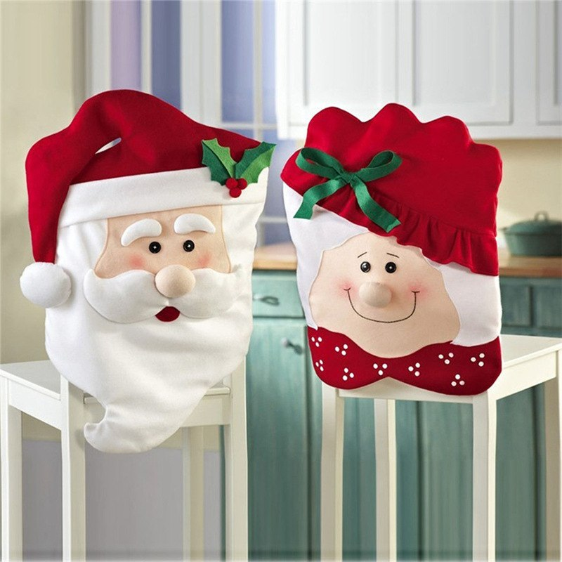 Excellent Soft Fabric Christmas Decoration Chair Covers Dining Seat Santa Claus Chair Cover For Home Party Decor 2 Pcs Set Bralicious Painted Fabric Chair Ideas Braliciousco