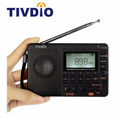 TIVDIO V-115 Radio AM FM SW Pocket Radio Receiver Shortwave Transistor Receiver TF Card USB REC Recorder FM Tuner Work F9205A