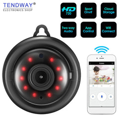 Tendway Mini Camcorders WIFI 720P IP Camera Wireless Small CCTV Infrared Night Vision Motion Detection SD Card Slot Audio APP