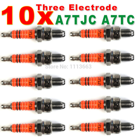 Three-Electrode High Performance A7TC Motorcycle Spark Plug 50cc 70cc 90cc 110cc 125cc ATV Dirtbike 50 125 150cc Moped Scooter