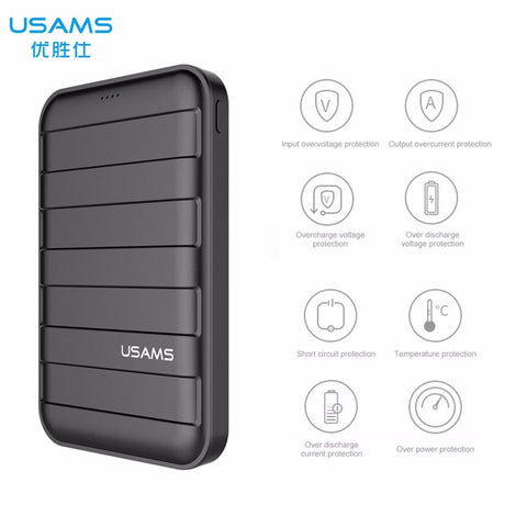 USAMS 5V 2A 10000mAh Large Capacity Power bank LED Dual USB PowerBank 10000 mAh Mobile Phone Fast Charger 18650 External Battery