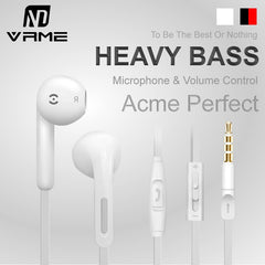Vrme 3.5mm jack Wired In Ear Headphones Stereo Earphone Volume Control Heavy Bass Music Headset Phone Earphones for iPhone/MP3