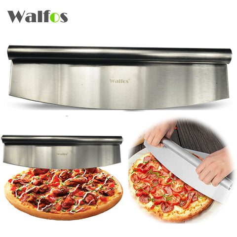 WALFOS 12 Inch Pizza Cutter Sharp Rocker Blade Premium Stainless Steel Rocking Pizza Knife Pastry Chopper