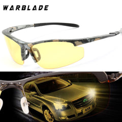 WarBLade 2018 New Night Vision Sunglasses Fashion Men HD Polarized Driving Glasses Rimeless Yellow Lens Goggles Gafas 1041