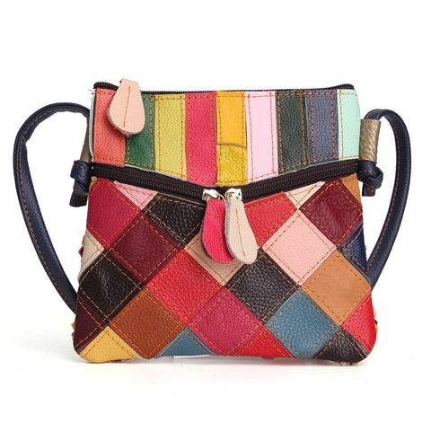 Women Genuine Leather Crossbody Bag Vintage Shoulder Hand Bag Spring Patchwork Messenger Bags Lady Random Color Small Bolsas