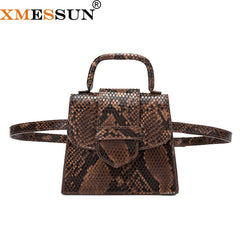XMESSUN Women Snake Printing Handbag Python Shoulder Messenger Bag 2019 New Fashion Ladies Waist Bag Crossbody Drop Shipping H99