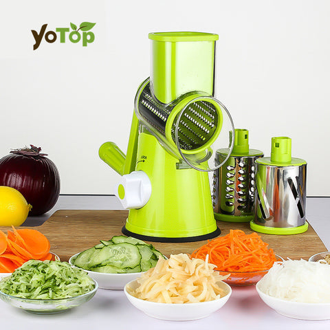 YOTOP Green Vegetable Mandoline Slicer Potato Julienne Carrot Cutter Cheese Grater Round Stainless Steel Blades Kitchen Tool