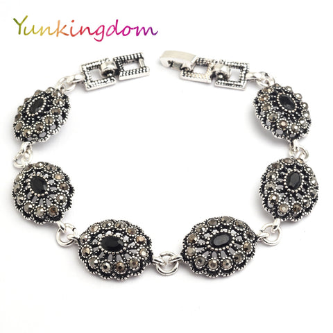 Yunkingdom Ethnic Style Vintage Jewelry Silver Color Bracelets for Women Black Resin K1794
