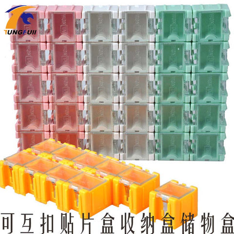fast50pcs SMD SMT component container storage boxes electronic case kit the 1# Automatically pops up patch box