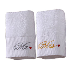 iDouillet White Cotton Bath or Hand Towels with Mr./Mrs. Embroidery Set of 2 Engagement Wedding Anniversary Romantic Couple