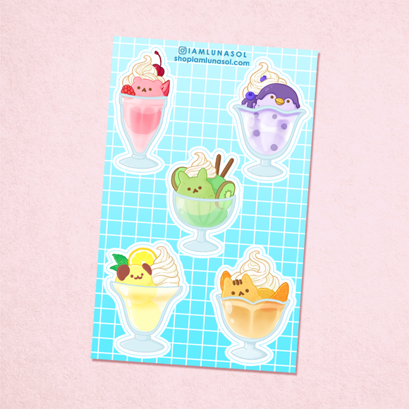 New Animal Ice Cream Sundaes Vinyl Sticker Sheet