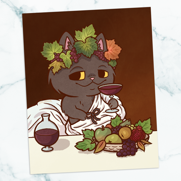 Bacchus Cat Art Print