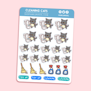 Cleaning Cats Sticker Sheet